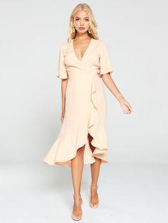 V By Very Soft Wrap Ruffle Occasion Dress - Blush, Blush, Size Women - Blush - 18 Occasion Wear, Occasion Dresses, Angel Sleeve, High Leg Boots, Long Toes, Wrap Style, Hue, Hemline, Ruffles