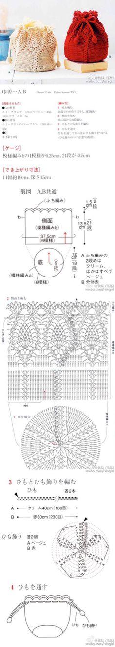 "Discover thousands of images about Cartera - Crochet [ ""- Crochet bag with pattern"" ] # # # # # # # # # # Crochet Diagram, Crochet Chart, Crochet Motif, Diy Crochet, Crochet Handbags, Crochet Purses, Creative Bubble, Knitting Patterns, Crochet Patterns"