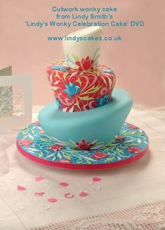 Contemporary CutWork Inspired Wonky Wedding Cake From Lindy's wonky cake DVD by Lindy's cakes, via Flickr