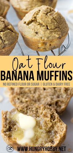 Oat flour banana muffins are a hearty delicious healthy banana muffin made with just a few simple ingredients! No refined flour sugar butter or dairy! Banana Muffins No Sugar, Oat Flour Banana Bread, Sugar Free Muffins, Banana Oatmeal Muffins, Healthy Banana Muffins, Banana Chocolate Chip Muffins, Gluten Free Banana, Healthy Banana Recipes, Banana Cupcakes