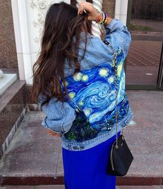"""Where art meets fashion. Make your Trucker jacket fit for a museum by customizing it with paint and replicate your favorite work of art, like Liliya did here, painting """"Starry Night"""" onto her favorite jean jacket."""
