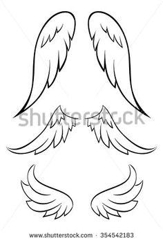 Ange Vecteurs de stock et clip-Art vectoriel Body Art Tattoos, Small Tattoos, Angel Wings Drawing, Angel Vector, Clip Art, Angel Art, Angel Wings Art, Easy Drawings, Animal Drawings