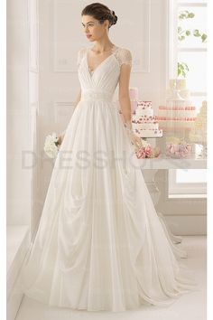 New Arrivals Garden Chapel Train Chiffon Buttons Wedding Dresses - A-line Wedding Dresses - Wedding Dresses - Dresshop.com.au