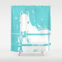 White Horse - Turquoise Shower Curtain by BACK To THE ROOTS | Society6