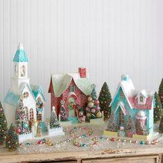 Cody Foster homes putz Aqua Christmas, Christmas Town, Shabby Chic Christmas, Christmas Paper, All Things Christmas, Vintage Christmas, Christmas Holidays, Christmas Crafts, Christmas Decorations