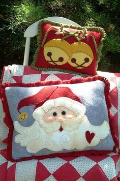 Make 2 Jolly Wool Applique Pillows with One Pattern.