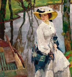 Putz, Leo (Austrian, - On the River Bank - 1909 cool-art Leo, Claude Monet, The River, River Bank, Figure Painting, Painting & Drawing, Pierrot Costume, Beautiful Paintings, Great Artists