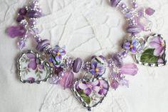 Broken China Jewelry China Heart Bracelet by Tina Hollie Silverware Jewelry, Glass Jewelry, Beaded Jewelry, Handmade Jewelry, Beaded Bracelets, Charm Bracelets, Necklaces, Or Violet, Broken China Jewelry