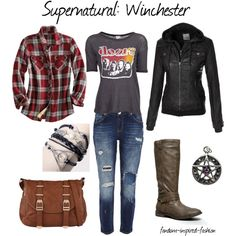 """Supernatural: Winchester Inspired Outfit"" by fandom-inspired-fashion on Polyvore. Inspired by the Winchester brothers and their classic clothing choices. A classic rock tee is layered with a flannel shirt and a heavy leather jacket. Matched with distressed jeans and sturdy boots for happy hunting with Sam and Dean. Symbolic charms/jewelry and a messenger bag will make sure you are ready for any situation."