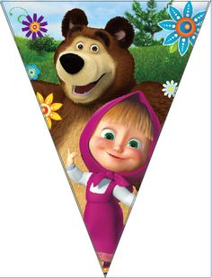 masha and the bear  cartoon theme paper banner bunting ,party decoration flag,28*280cm