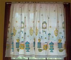 3 Piece Set  Mid Century Vintage Curtains Aqua by Route66StLouis