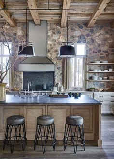 Wood used for kitchen island. Silverleaf Rustic Eclectic House 1