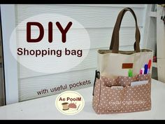 DIY Shopping bag with useful pockets // How to กระเป๋าช้อปปิ้ง Diy Tote Bag, Diy Purse, Diy Bags Tutorial, Embroidery Bags, Craft Bags, Bag Patterns To Sew, Fabric Bags, Quilted Bag, Bag Making