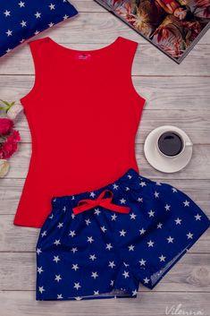 Комплект жіночий для сну та відпочинку • червона майка та темно-сині з білими зірочками шорти • інтернет магазин • vilenna.ua Summer Pajamas, Cute Pajamas, Pajamas Women, Lingerie Sleepwear, Nightwear, Girly Outfits, Cute Outfits, Chor, Mode Hijab