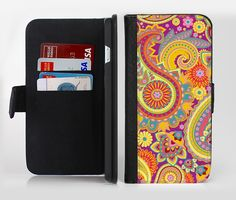 The Neon Orange Paisley Pattern Ink-Fuzed Leather Folding Wallet Credit-Card Case for the Apple iPhone 6/6s, 6/6s Plus, 5/5s and 5c from DesignSkinz