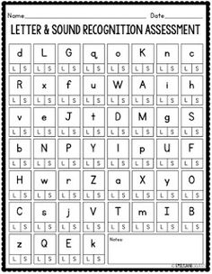 LETTER AND SOUND RECOGNITION ASSESSMENT-FREEBIE!!