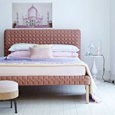 Pastel bedroom - bed: Ligne Roset - Table Lamp: Latitude Interiors - Bedlinen: Zara Home - Chosen by Livingetc - Photograph by Adrian Briscoe