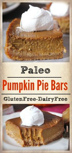 These Paleo Pumpkin Pie Bars are easy & so delicious! A graham cracker-like crust and rich, smooth filling. Dairy free, gluten free, & naturally sweetened.