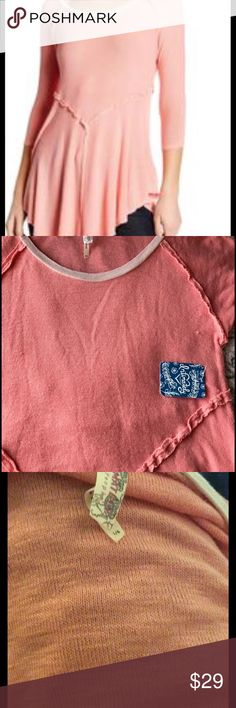 FREE PEOPLE BABYDOLL TOP NWT SIZE L Free people babydoll top size L NWT salmon color Free People Tops Blouses