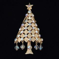 Vintage MYLU Crysal Christmas Tree Brooch / Mylu Christmas