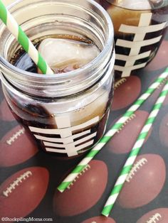 DIY Football Drinking Glasses - perfect for game day or a party!