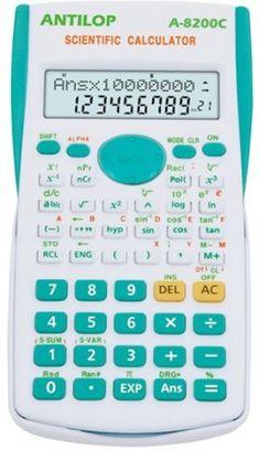 ANTILOP 8200C tudományos számológép. 2 soros kijelző 240 funkcióval. 240 funkció, statisztikai számításokhoz alkalmas menü, 2 soros kijelző, 12 és 10+2 karakter, felső sor: dot matrix, 1 független memória, 8 állandó memória, SCI/FIX/ENG. funkció százalék számítás, 24 zárójel, ismétlés, lineáris regresszió, trigonometriai, hiperbolika törtszámítás, időszámítás, DEG/GRAD/RAD. Méret: 85x160x23 mm. Gombok színe: kék