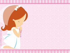 Cute Girl First Communion Free Printable Mini Kit.