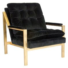Worlds Away Cameron Gold Leafed Chair Black Velvet