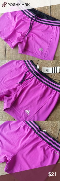 "NWT ADIDAS KNIT SHORT Purple with black striped waist Functional black drawstring outside No built in brief 3.25"" inseam No rips, stains or defects Smoke free home adidas Shorts"