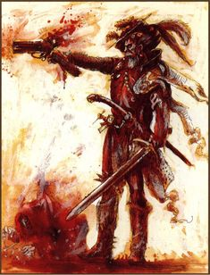 "Courtesy of scribblarium ""This one looks like the WarHammer version of Don Quixote… With a gun."""