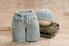 Glacier newborn Knitted set complete photography prop by thymeline, $60.00