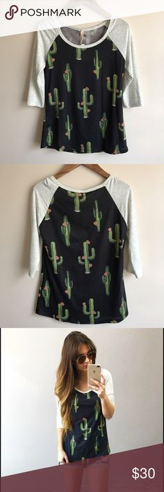Boutique Cactus Baseball Tee This shirt is SO cute AND comfy😍... baseball style tee with an adorable cactus print...polyester/rayon/spandex... New with tags... purchased from shophopes.com My Beloved Tops