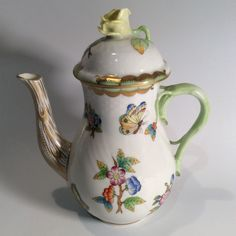 Herend Hungry Queen Victoria Garden Coffee Pot by TimesTinCup on Etsy