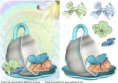 Sky boy on Craftsuprint designed by Mishara Armenia - Gorgeous fairy baby boy sleeping in a teacup quick card - Now available for download!