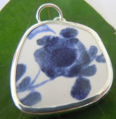 Broken China Necklace Pendant  Chaney Sterling by MaroonedJewelry, $40.00