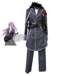 Vocaloid fans, this must be the coolest costume in the whole series! It features a gorgeous long black jacket trimmed in purple and a button front closure with purple buttons. A fancy red silk rose adorns the lapel and a sassy feather boa adds interest and style to the collar area of the jacket. A double wrapped belt adds interest and detail to the midsection and a pair of smart black trousers are worn underneath. A very stylish and hip costume for any event.