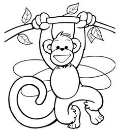 Monkey in a Tree, free animal coloring pages for kids, they have fairies and pirates on the BHG page too Make your world more colorful with free printable coloring pages from italks. Our free coloring pages for adults and kids. Monkey Coloring Pages, Animal Coloring Pages, Coloring Book Pages, Coloring Pages For Kids, Coloring Sheets, Kids Coloring, Summer Crafts For Kids, Kids Crafts, Easy Arts And Crafts