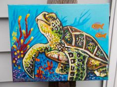 Sea Turtle original painting 8 x 10 inches gift bff by dawntarr