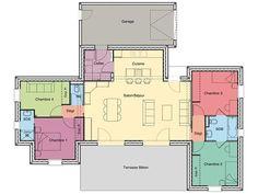 plan rez de chausse maison contemporaine plein pied nino nology - Plan Maison Contemporaine Plain Pied 4 Chambres