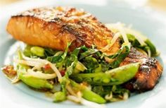 Learn to make your own salmon teriyaki. This healthy Asian recipe is low in calories and saturated fat. A great dinner party dish. Healthy Asian Recipes, Healthy Vegetable Recipes, Vegetable Stir Fry, Healthy Foods, Healthy Menu, Healthy Dishes, Healthy Weight, Healthy Cooking, Healthy Eats