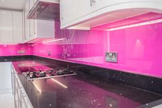 Telemagenta Pink coloured glass kitchen splashback by CreoGlass Design (London,UK). CreoGlass™ Splashbacks are toughened and impact resistant. Glass can with stand temperatures up to Hot Pink Kitchen, Funky Kitchen, Shabby Chic Kitchen, Kitchen Colors, Kitchen Stuff, Glass Bathroom, Glass Kitchen, Kitchen Decor, Kitchen Ideas