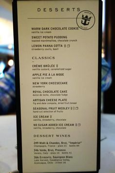 Spotted: New main dining room menu on Royal Caribbean\'s Oasis of ...