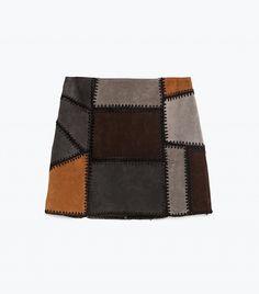 Zara patchwork suede skirt.