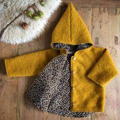 Wool Spring/Autumn Coat Ochre Yellow Brown Flowers
