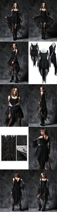 awesome Dark In Love Gothic Ghost Dovetail Lace Dress with Button Front Detail - Black by http://www.polyvorebydana.us/gothic-fashion/dark-in-love-gothic-ghost-dovetail-lace-dress-with-button-front-detail-black/