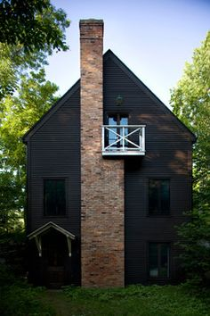 27 best Salt Box Style Home Exterior images on Pinterest     This is absolutely the coolest black house  I love the combination of the  black wood exterior with the brick chimney  I want to live in a house like  this