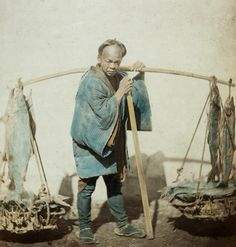 Fish seller.  Hand-colored photo, 1870's, Japan, by photographer Felice Beato