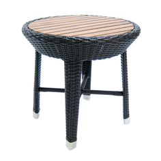 The Riveiera End Table Teak & Resin Weave from Walters Wicker Exterior Collection.