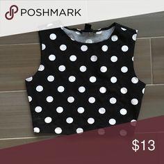 Polka dot top Black and white polka dot crop top Tops Crop Tops