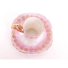 Vintage Pink Demitasse Teacup Saucer Iridescent Tea Cup Japan... ($18) ❤ liked on Polyvore featuring home, kitchen & dining, drinkware, gold cup, pink cup, gold tea cup, vintage teacups and vintage tea cups and saucers